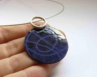 Enamel Pendant Violet Black enamels  - Sterling silver and copper - Violet Purple Black - Stencil, Strand Necklace