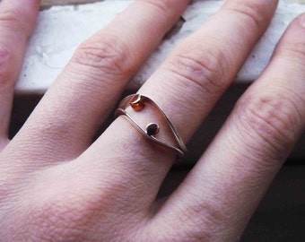 Two small Dot rings, Sterling silver and copper, Stacking rings, Made to order in your size