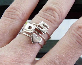 Two Initials and One Heart Rings, Sterling silver, Made to order, Custom Ring , Stacking ring