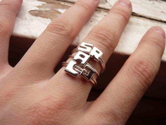 Set of five INITIALS Rings made of Sterling silver, Tiny letter, monogramed, personalized small handmade stackable stacking minimalist