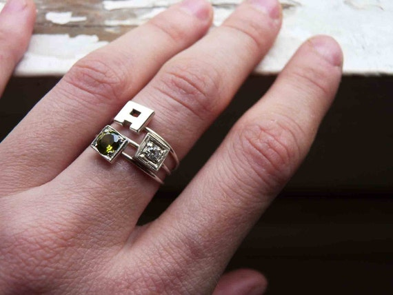 Stackables Birthstones Rings in Sterling Silver - Two stone rings & One letter ring