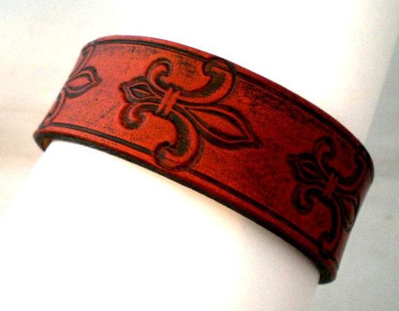 Adjustable Fleur de lis stamped leather cuff in Tan Brown