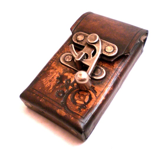 Steampunk android leather cell phone case made to fit most - Steampunk mobel ...