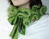 Shades of Sea Mohair Scarflette in Grass Green - RESERVED for lamiscelanea