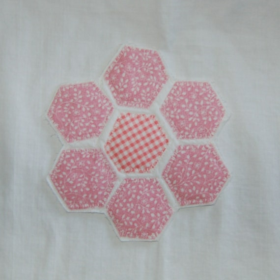 Quilted Coaster Pink Hexagons