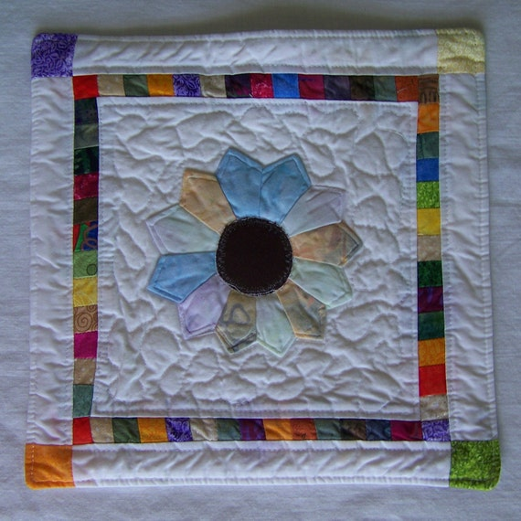 Scrappy Floral Mini Quilt, Mug Rug or Candle Mat