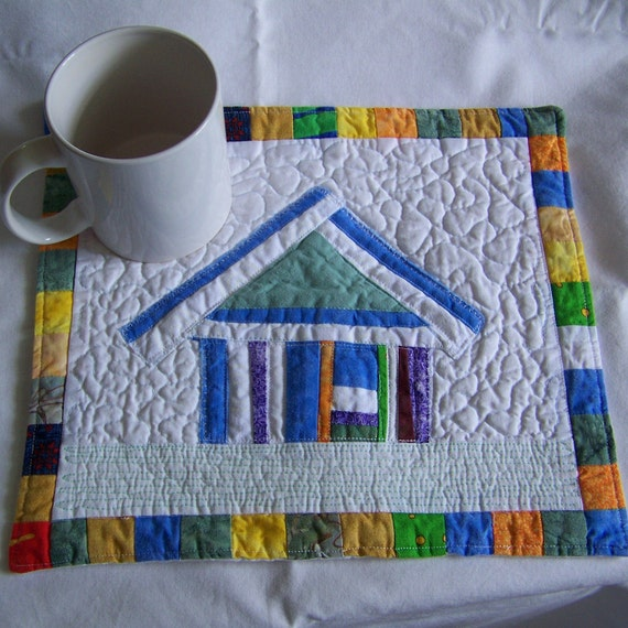 Crazy Town Scrappy Blue Cottage Mini Quilt Mug Rug or Coaster