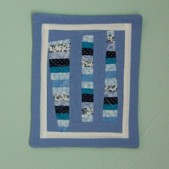 Free Form Scrappy Blue Strings Mini Quilt Mug Rug or Snack Mat
