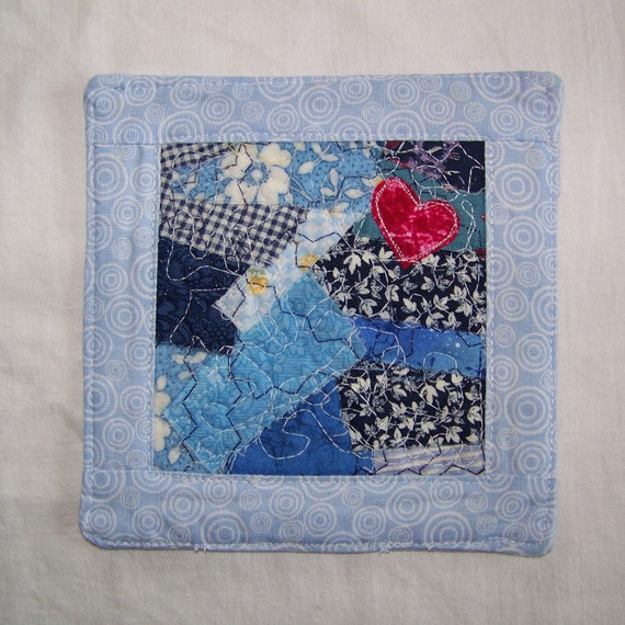 Scrappy Blue Coaster/Mini Quilt
