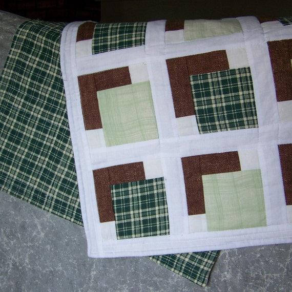 Table Runner Homespun Green Plaids with Brown Shadows