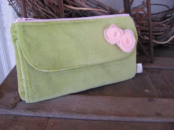 Clearance - Lime Green Velour Wallet with pink rosettes