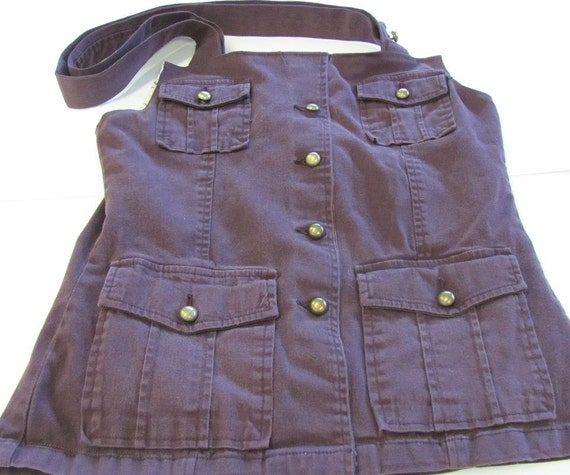 Brown Upcycled Jacket Bag with pussy willow