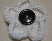 White Poppy Crochet Brooch