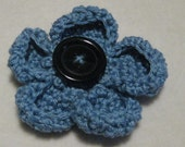 Deep Blue Crochet Poppy Brooch