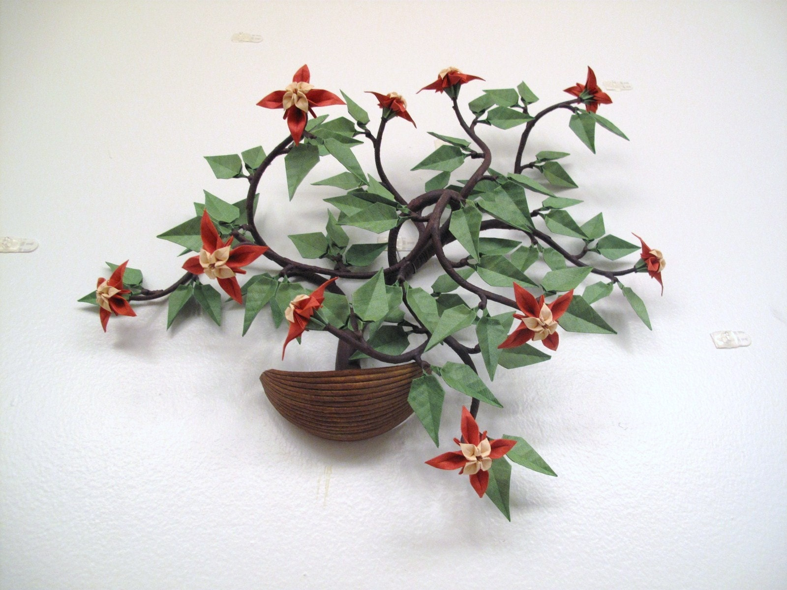 wall hanging origami bonsai with red and cream flowers in faux