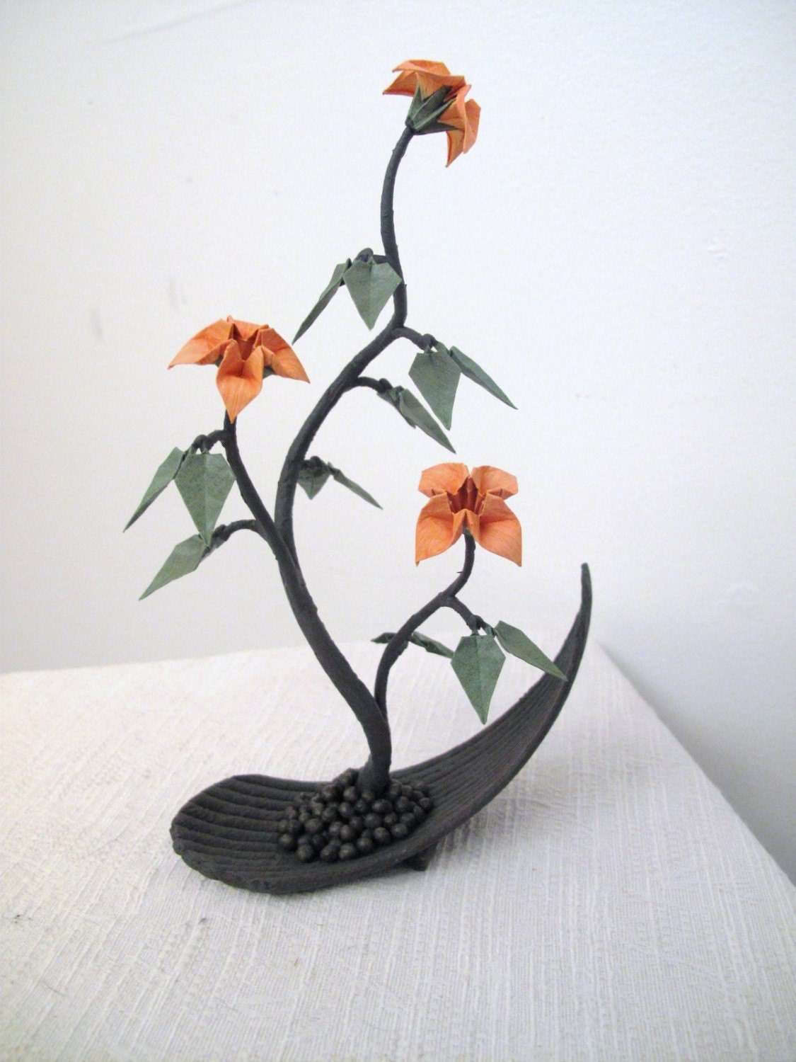 Origami Bonsai with Peach Flowers in a Cool Planter - photo#38
