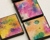 Square Magnets Handmade Colorful Abstract Recycled Paper