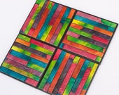 Coaster Handmade Paper Bright Bold Multi Colorful Stripe Mosaic