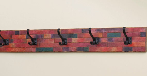Coat Rack Handmade Paper Orange Brick Mosaic