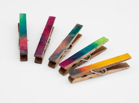 Magnets Clothes Pin Handmade Paper Wood Abstract Colorful Photo Kitchen Refrigerator