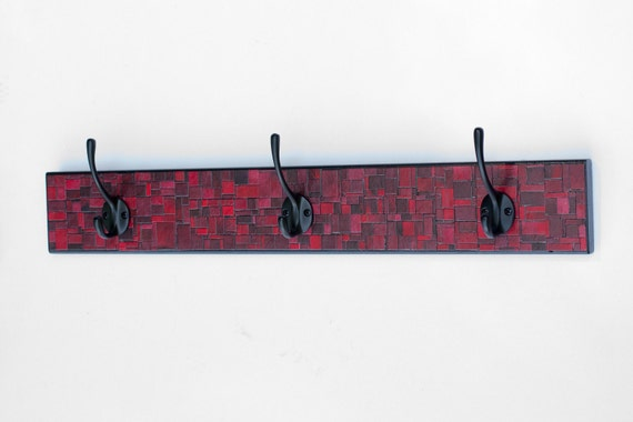 Wall Coat Rack Handmade Red Mosaic Brick Plaid Paper Reclaimed Wood