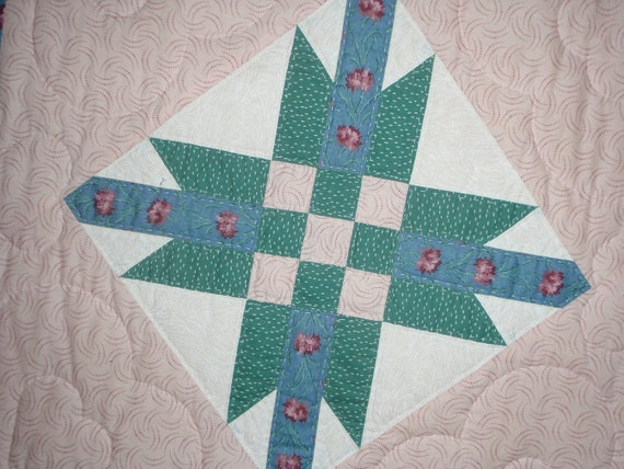 Hand Quilted Blue Star Quilt
