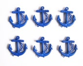 6pcs Big Blue ANCHOR Charms