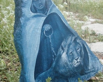 BEAUTY REIGNS - was 67.00 REDUCED price! lovely original lion and maiden painting on flagstone