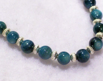 """Turquoise River Shell Silver Stretchy Bracelet 7.5"""""""
