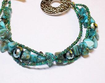 """Turquoise Green Silver 3 Strand Bracelet Iris Glass - 8.25"""" Original Handmade Blue Aqua"""