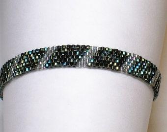 "Dark Green Crystal Sparkly Woven 7.5"" Bracelet Silver Iridescent Finish"
