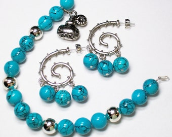 "Turquoise Silver Bracelet Earring Set 8.5"" Perfume Charm Dangle"