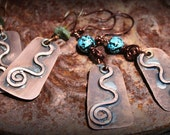 Hand Forged Copper Dangle Earrings with a Swirl