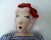 SALE - Theodora Part of the Plate Spinners Sisters Linen Fabric Art Doll
