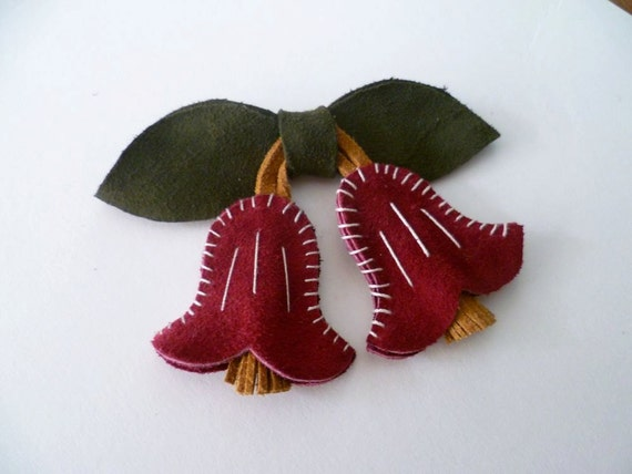 Ruby Red and Mustard Yellow Stitched Suede Bells Brooch