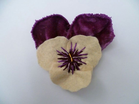 SALE - Pansy For Thoughts Dress Clip / Hair Clip