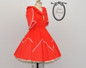 Vintage 60s Red Polka Dot Swing Dress
