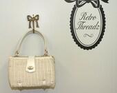 vintage 50s white wicker handbag