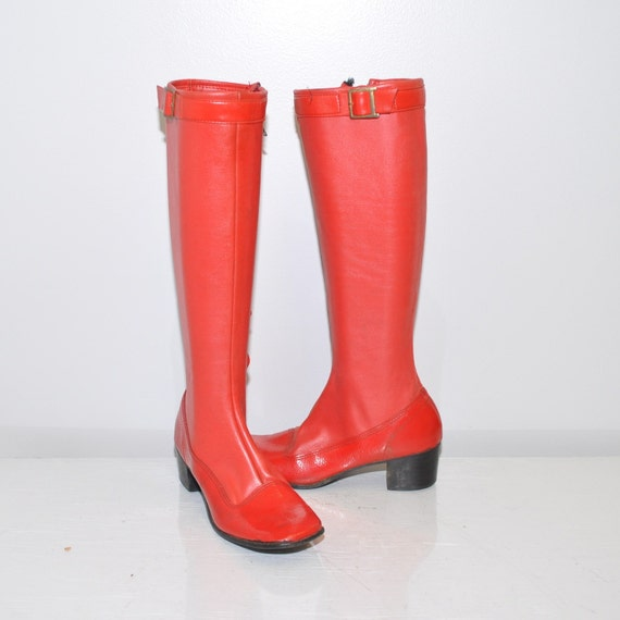 size 6.5 vintage 60s mod Cherry BomB Leather GoGo boots