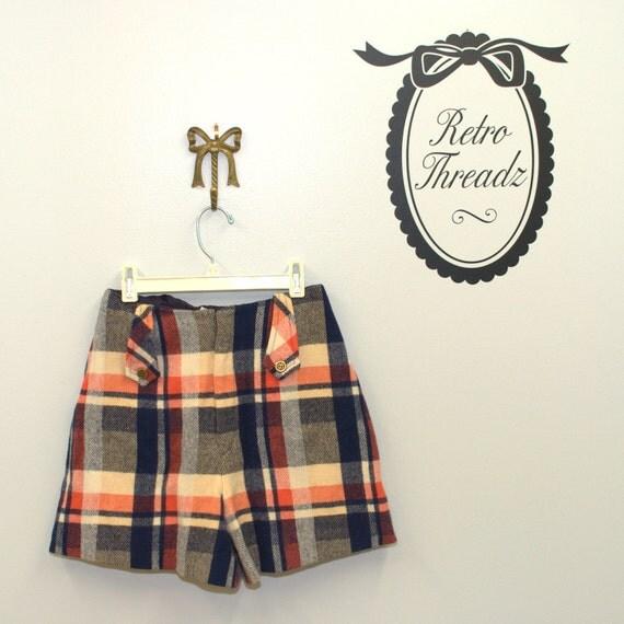 Vintage 50s High Waist Plaid Wood Shorts XS / S