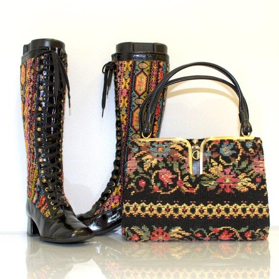 Vintage 60s Tapestry Go Go Boots Handbag Set Size 8
