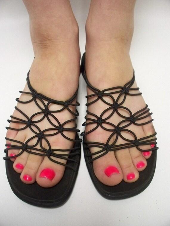 reserved Vintage 80s black gladiator sandles Size 7 - Euro 37 1\/2