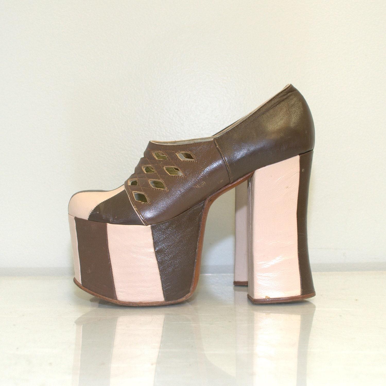 leather platform shoes vintage by
