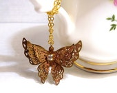 Gold butterfly necklace - filigree jewelry brass