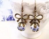 Bow earrings, blue flower earrings, dangle earrings, antique brass earrings, romantic earrings