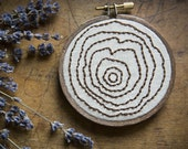 tree stump - hand embroidered faux bois