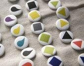 Shapes Pin Set - triangle, square, tear, colors you choose