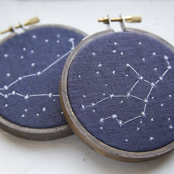 Two Zodiac Constellations - Embroidered Stars of Your Choice