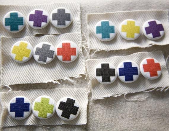 Cross Pin Set - classic red cross in colors you choose