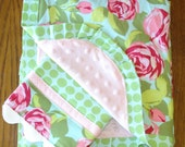 Pink and Green Roses Minky Blanket and Burp Cloth Set...PERSONALIZATION AVAILABLE